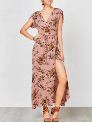 Floral Maxi Wrap Slit Summer Boho Dress - PINK