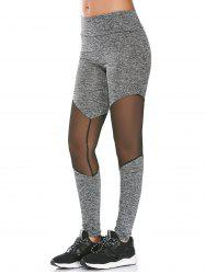 Mesh Panel High Rise Fitness Leggings - GRAY
