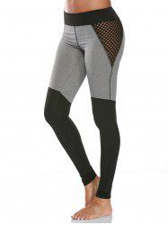 High Waist Mesh Fishnet Panel Gym Leggings - GRAY