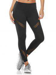 Midi Waist Capri Mesh Workout Leggings - BLACK