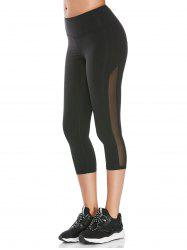 Mesh Insert Cropped Athletic Leggings