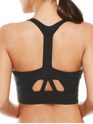 Cutout Padded Cropped Sports Racerback Bra - BLACK