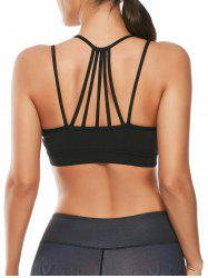 Strappy Padded Workout  Bra - BLACK