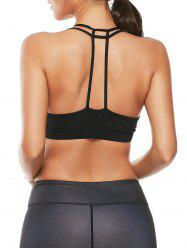 Caged Strappy Padded Sports Bra - BLACK