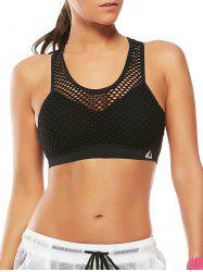 Fishnet Mesh Racerback Sports Padded  Bra - BLACK