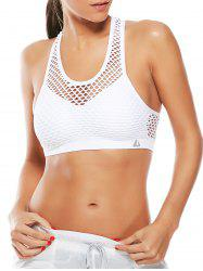 Fishnet Mesh Racerback Sports Padded  Bra - WHITE