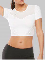 Mesh Panel Running Gym Cropped T-Shirt