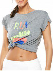 Letter Running Gym Graffiti T-Shirt - GRAY