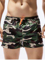 Camouflage Print Drawstring Hawaiian Board Shorts
