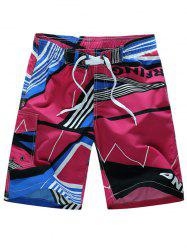 Color Block Drawstring Stripe Geometric Print Board Shorts