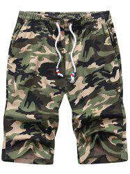 Camouflage Drawstring Waist Shorts - ARMY GREEN