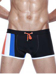 Color Block Panel Design Drawstring Swimming Trunks -