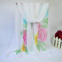 Showy Blooming Flowers Printed Lightsome Chiffon Scarf