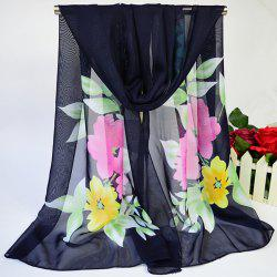 Showy Blooming Flowers Printed Lightsome Chiffon Scarf - CADETBLUE