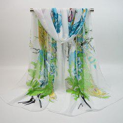 Chiffon Chinoiserie Blooming Flowers Peacock Printing Scarf - WHITE