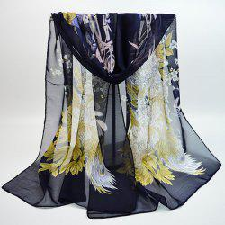 Chiffon Chinoiserie Blooming Flowers Peacock Printing Scarf -