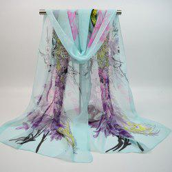 Chiffon Chinoiserie Blooming Flowers Peacock Printing Scarf - WINDSOR BLUE