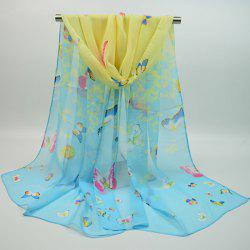 Gossamer Chiffon Ombre Tiny Butterfly Printing Shawl Scarf