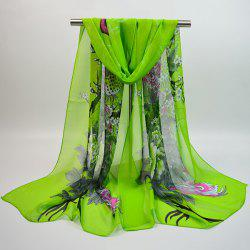 Chiffon Chinoiserie Blooming Flowers Peacock Printing Scarf - GREEN