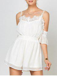 Lace Panel Chiffon Cold Shoulder Romper