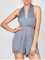 Satin Backless Halter Romper
