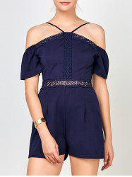 Lace Insert High Waisted Halter Romper