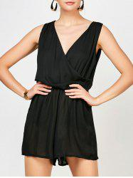 Sleeveless Surplice Ruched Romper with Pockets - BLACK M