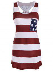 Sleeveless Racerback Bowknot American Flag Patriotic T Shirt Dress - DEEP RED