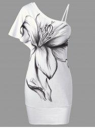 Floral Bodycon One Shoulder Dress - WHITE