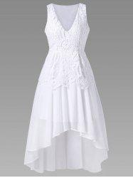 Lace Panel Chiffon High Low Prom Dress - WHITE