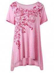 Bandana Floral High Low Hem Plus Size T-Shirt