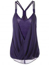 Crossover High Low Hem Racerback Tank Top - PURPLE M