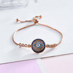 Rhinestoned Round Devil Eye Bracelet -