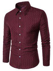 Long Sleeve Casual Printed Shirt - RED