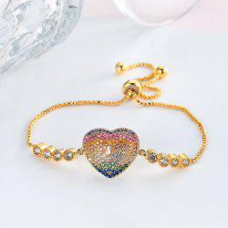 Rainbow Rhinestoned Heart Lock Chain Bracelet