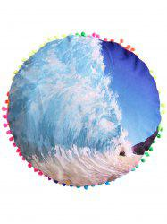 Sea Wave Sofa Decoration Round Pouf Pillow Case