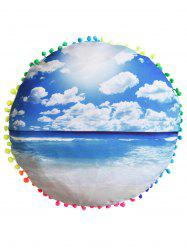Beach Cushion Cover Round Pillow Pouf Case