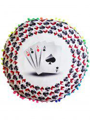 Poker Print Round Decorative Pouf Pillow Case