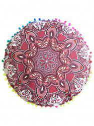Mandala Print Round Throw Cover Pouf Pillowcase - RED
