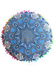 Mandala Print Round Throw Cover Pouf Pillowcase - BLUE