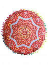 Mandala Round Cushion Floor Pillow Pouf Cover - ORANGE RED