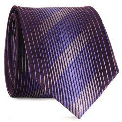 Diagonal Straight Stripe Mulberry Silk Tie - PURPLE