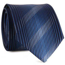 Diagonal Straight Stripe Mulberry Silk Tie - CADETBLUE