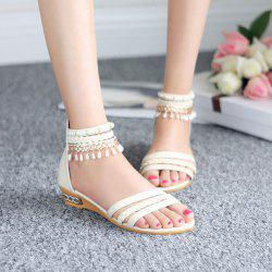 Faux Pearls Weave Zipper Sandals