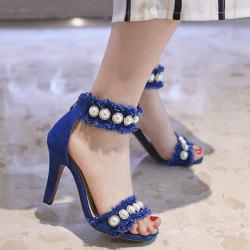 Faux Pearls Denim Stiletto Heel Sandals