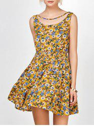 Choker Neck Shirred Floral Print Dress