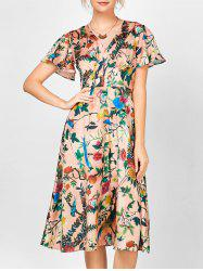 V Neck Self Tie Floral Print Dress