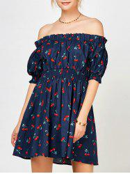 Cherry Print Ruffle Off The Shoulder Dress