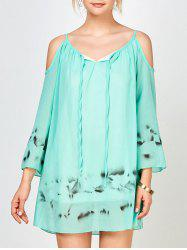 Cold Shoulder Chiffon Beach Shift Tie Dye Dress