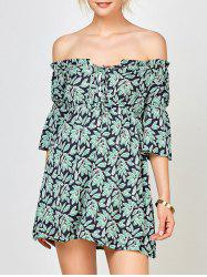 Leaf Print Off The Shoulder Mini Dress